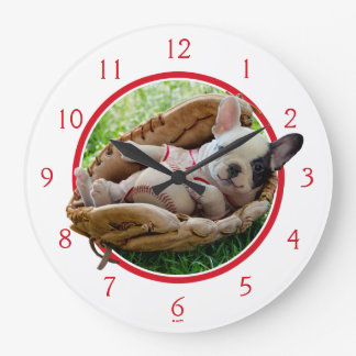 Cute Puppy in a Baseball Mitt Large Clock