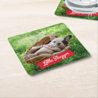 Cute Puppy in a Baseball Mitt Square Paper Coaster