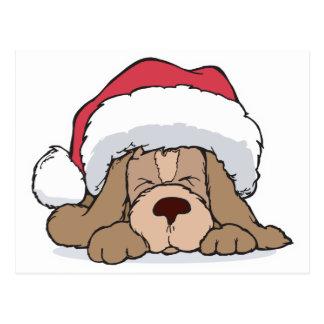 cute puppy in santa hat post card