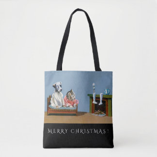 Cute Puppy & Kitten Wait For Santa Christmas Tote