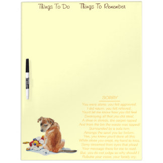 Cute puppy mixed breed with teddy dog poem Dry-Erase whiteboards