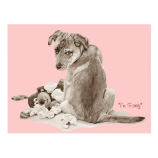 Cute puppy mixed breed with teddy dog realist art postcard