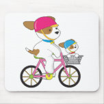Cute Puppy on Bike Mouse Pads