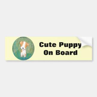 Cute Puppy On Board Bumper Sticker