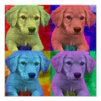 Cute Puppy Pop Art style Poster
