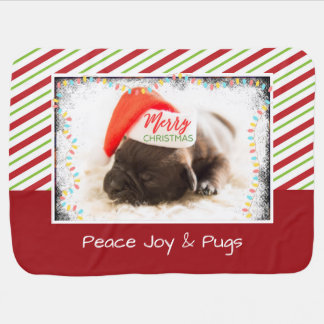 Cute Puppy Pug in a Red Santa Hat Christmas Baby Blanket