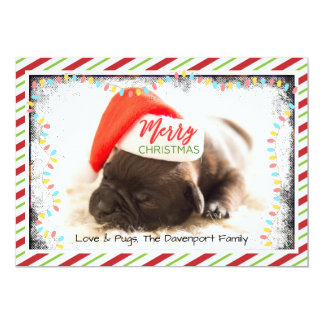 Cute Puppy Pug in a Red Santa Hat Christmas Card