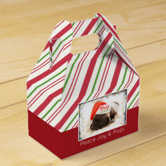 Cute Puppy Pug in a Red Santa Hat Christmas Favor Box