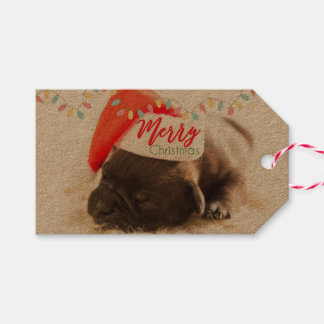 Cute Puppy Pug in a Red Santa Hat Christmas Gift Tags