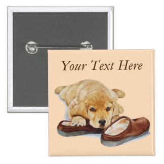 cute puppy retriever cuddling slippers portrait 2 inch square button