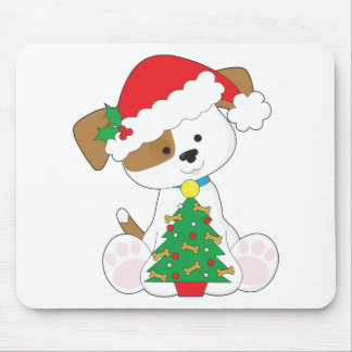 Cute Puppy Santa Mouse Pad