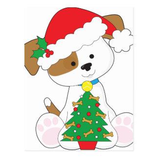 Cute Puppy Santa Postcard