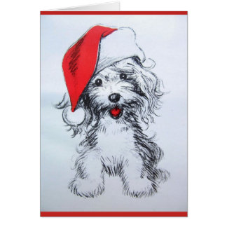 Cute Puppy Santa Sketch Card