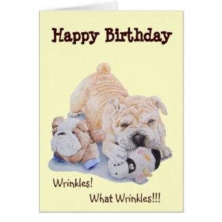 Cute puppy shar pei dog and teddy funny birthday card