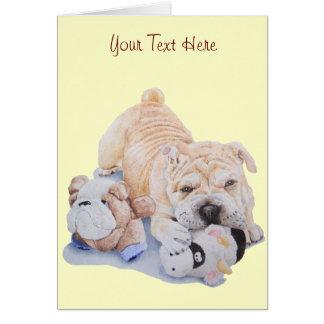 Cute puppy shar pei with teddy bears portrait art card