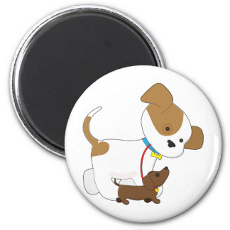 Cute Puppy Walking a Pup 2 Inch Round Magnet