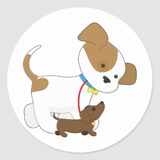 Cute Puppy Walking a Pup Classic Round Sticker