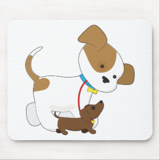 Cute Puppy Walking a Pup Mouse Pad