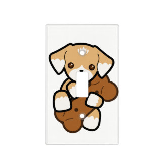 Cute Puppy With a Big Bone Light Switch Cover