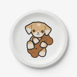Cute Puppy With a Big Bone Paper Plate