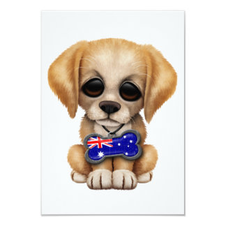 Cute Puppy with Australian Flag Dog Tag Card