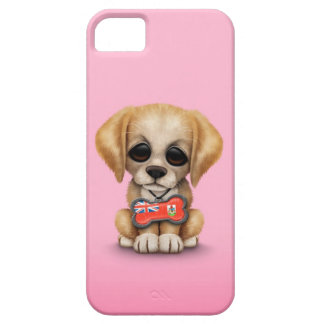 Cute Puppy with Bermuda Flag Dog Tag, pink iPhone 5 Covers
