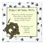 Cute Puppy with Bone 5.25x5.25 Square Paper Invitation Card