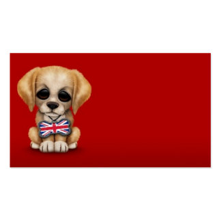 Cute Puppy with British Flag Pet Tag, Red Business Card