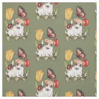 Cute Puppy with Butterfly, Ladybug and Tulips Fabric