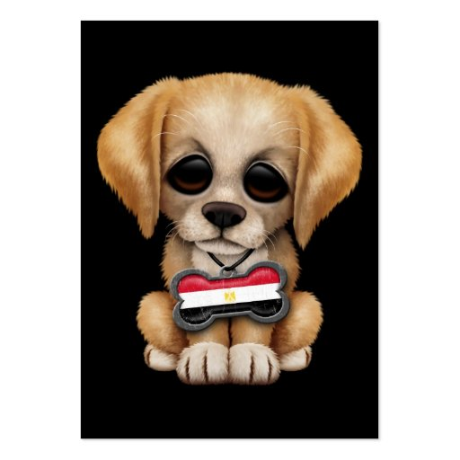 Cute Puppy with Egyptian Flag Dog Tag, black Business Card Template