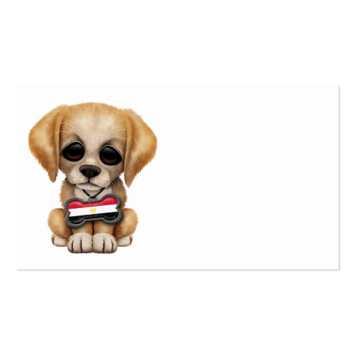 Cute Puppy with Egyptian Flag Dog Tag Business Card