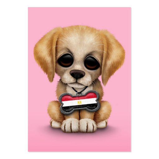 Cute Puppy with Egyptian Flag Dog Tag, pink Business Cards