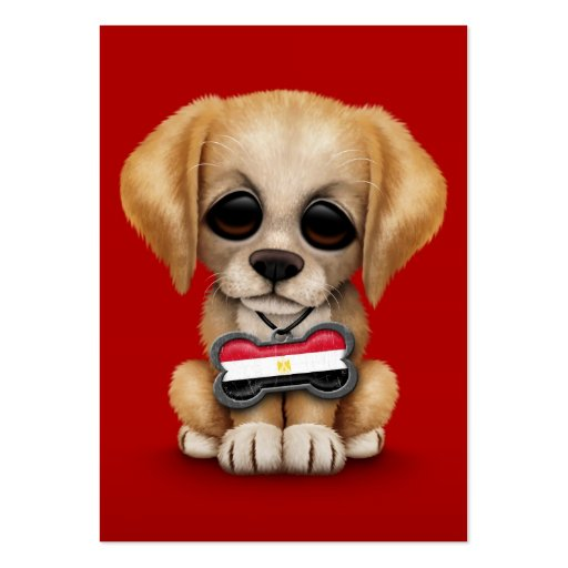 Cute Puppy with Egyptian Flag Dog Tag, red Business Card Template