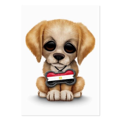 Cute Puppy with Egyptian Flag Dog Tag, white Business Cards