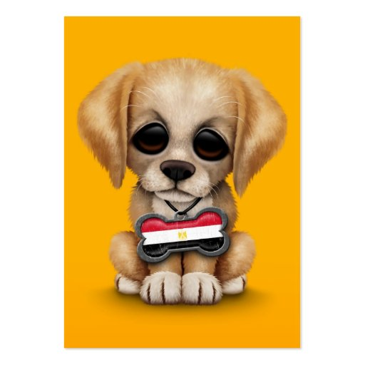 Cute Puppy with Egyptian Flag Dog Tag, yellow Business Card Templates