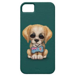 Cute Puppy with Fiji Flag Dog Tag, teal iPhone 5 Cover