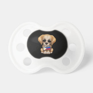 Cute Puppy with Filipino Flag Dog Tag, black Pacifier