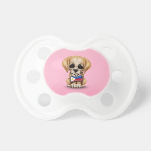 Cute Puppy with Filipino Flag Dog Tag, pink Pacifiers