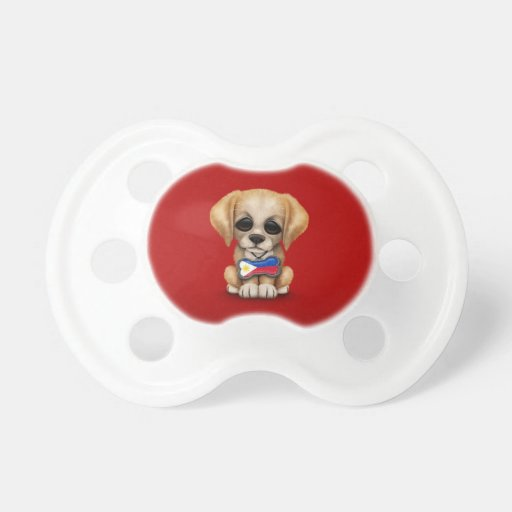 Cute Puppy with Filipino Flag Dog Tag, red Pacifiers