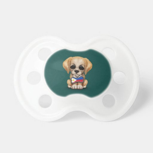 Cute Puppy with Filipino Flag Dog Tag, teal Baby Pacifiers