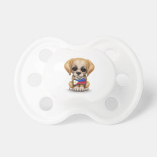 Cute Puppy with Filipino Flag Dog Tag, white Baby Pacifiers