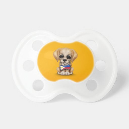 Cute Puppy with Filipino Flag Dog Tag, yellow Pacifiers