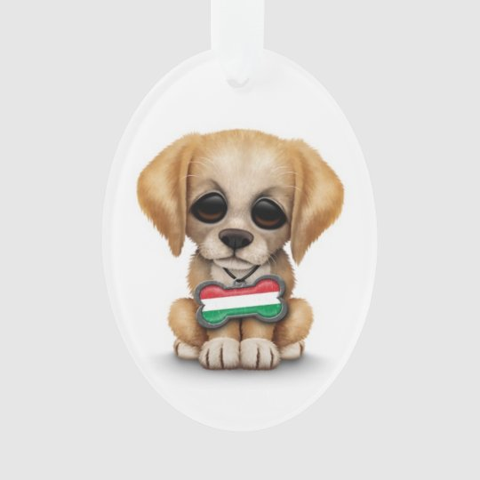 Cute Puppy with Hungarian Flag Dog Tag, white