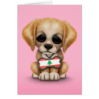 Cute Puppy with Lebanese Flag Dog Tag, pink Card