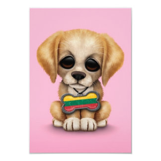 Cute Puppy with Lithuanian Flag Dog Tag, pink Card