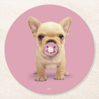 Cute Puppy with Pacifier Round Paper Coaster