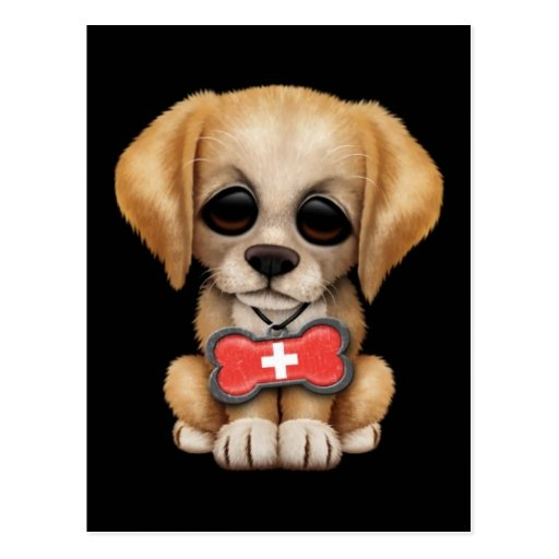 Cute Puppy with Swiss Flag Dog Tag, black Post Card
