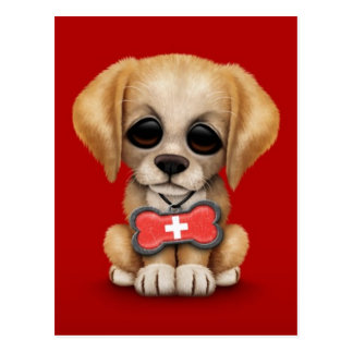 Cute Puppy with Swiss Flag Dog Tag, red Postcards