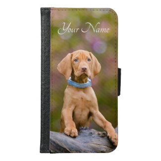 Cute puppyeyed Hungarian Vizsla Dog Puppy , Name Samsung Galaxy S6 Wallet Case