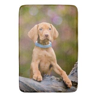 Cute puppyeyed Hungarian Vizsla Dog Puppy Photo ._ Bath Mat